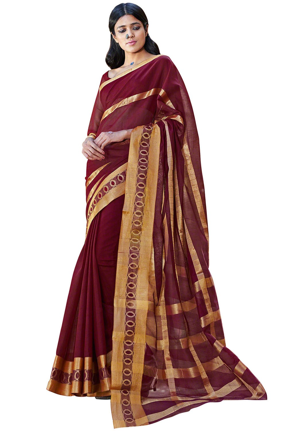 Paaneri Maroon Color Cotton Printed Saree With Stripe Pallu-Product Code-16110024508