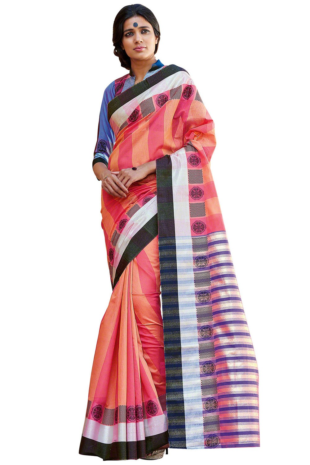 Paaneri Multicolor Cotton Printed Saree-Product Code-16110024608