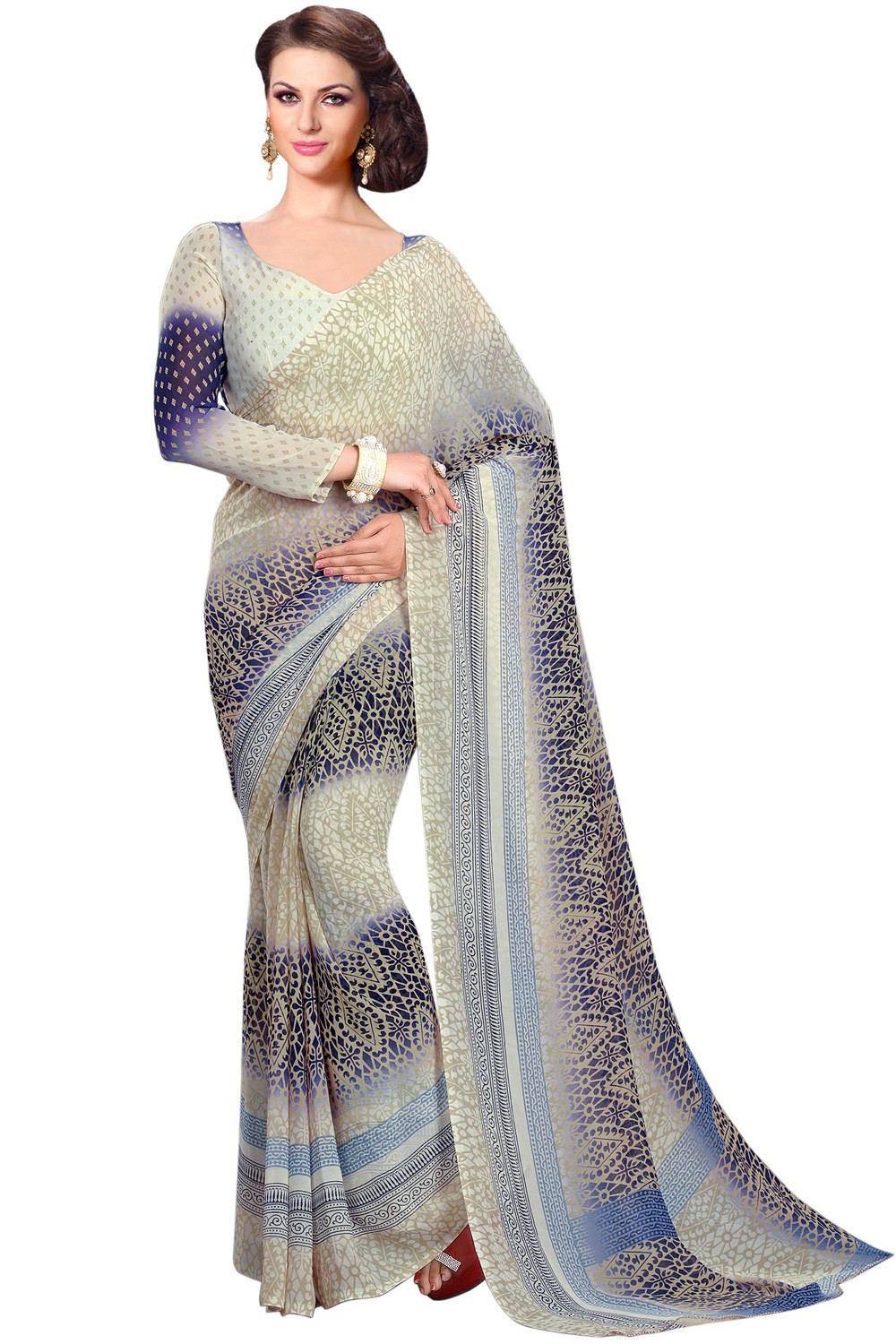 Paaneri Cream With  Blue Color Georgette Printed Saree Product Code-16120020812