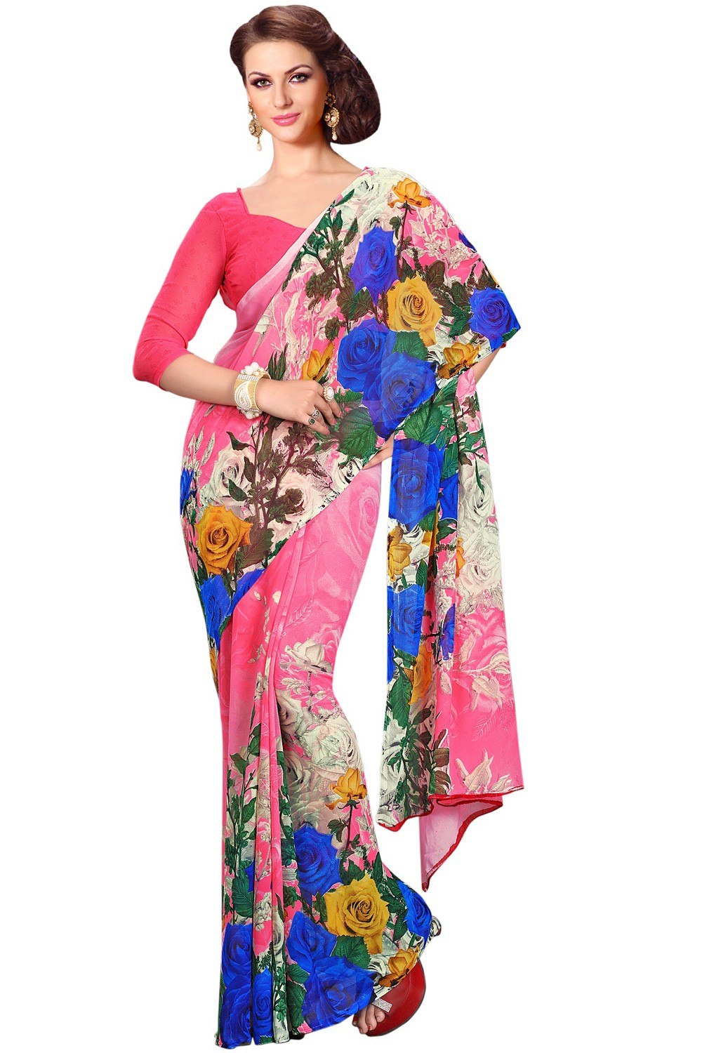 Paaneri Multicolor Floral Georgette Printed Saree Product Code-16120020912