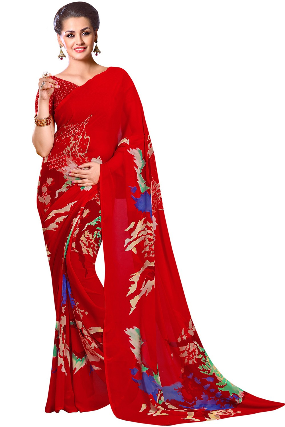 Paaneri Dark Red  Color Floral Print Georgette Printed Saree Product Code-16120023412