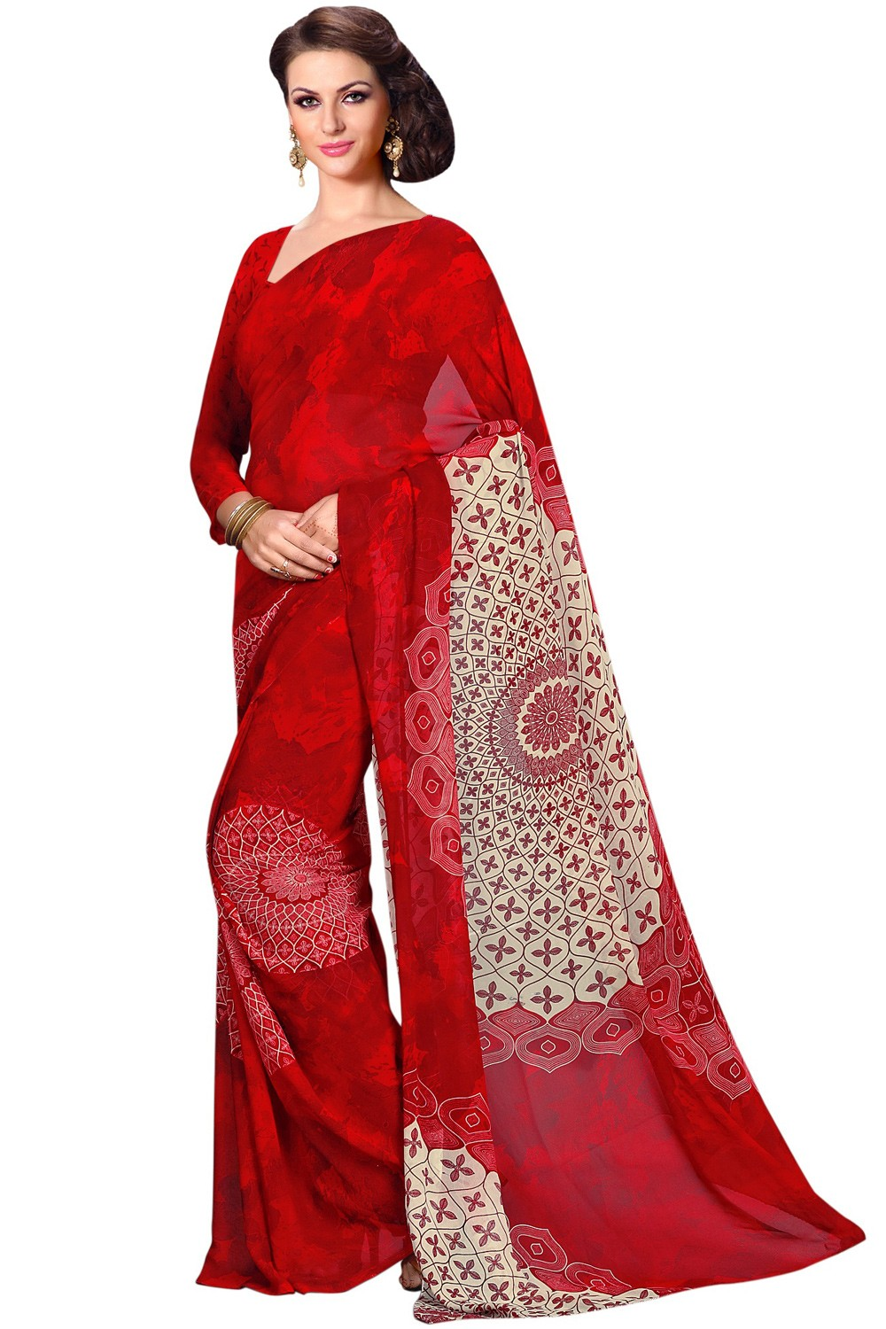 Paaneri Designer Red Color Gorgette Printed Saree Product Code-16120023812