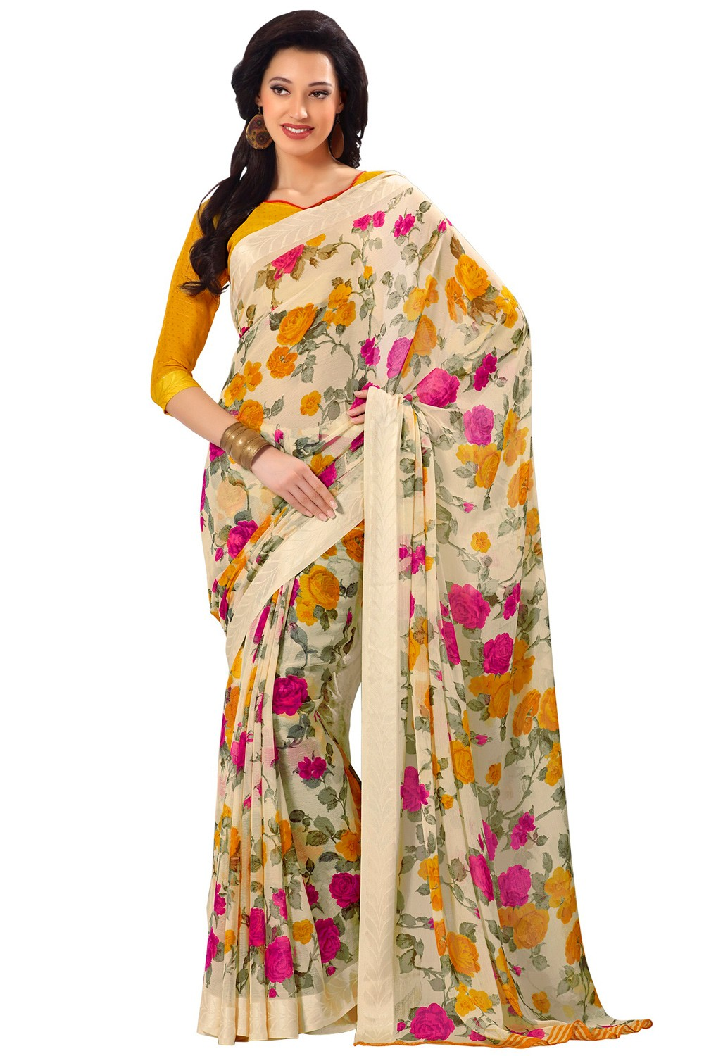 Paaneri Tan Color Flowerest Georgette Saree With Satin Border Pallu-Product Code-16120406906