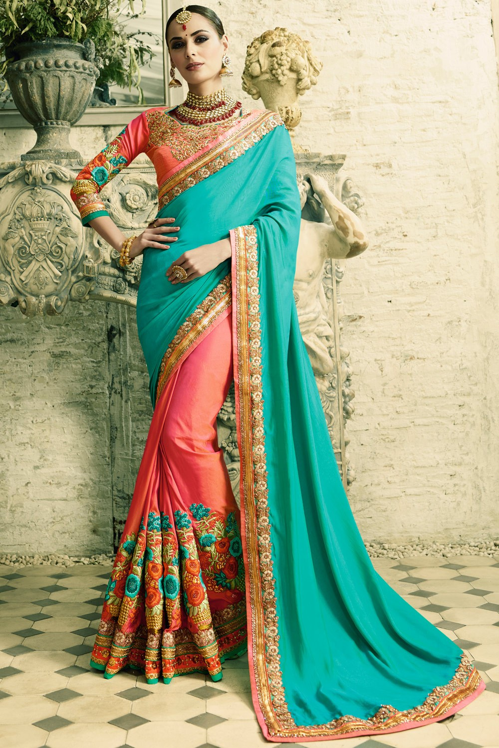 b3542feefd Paaneri Designer Shaded Light Sea Green With Pink Color Embroidery Work  Zari Border Silk Georgette Saree-Product Code-17102770911 - Sarees - Women's