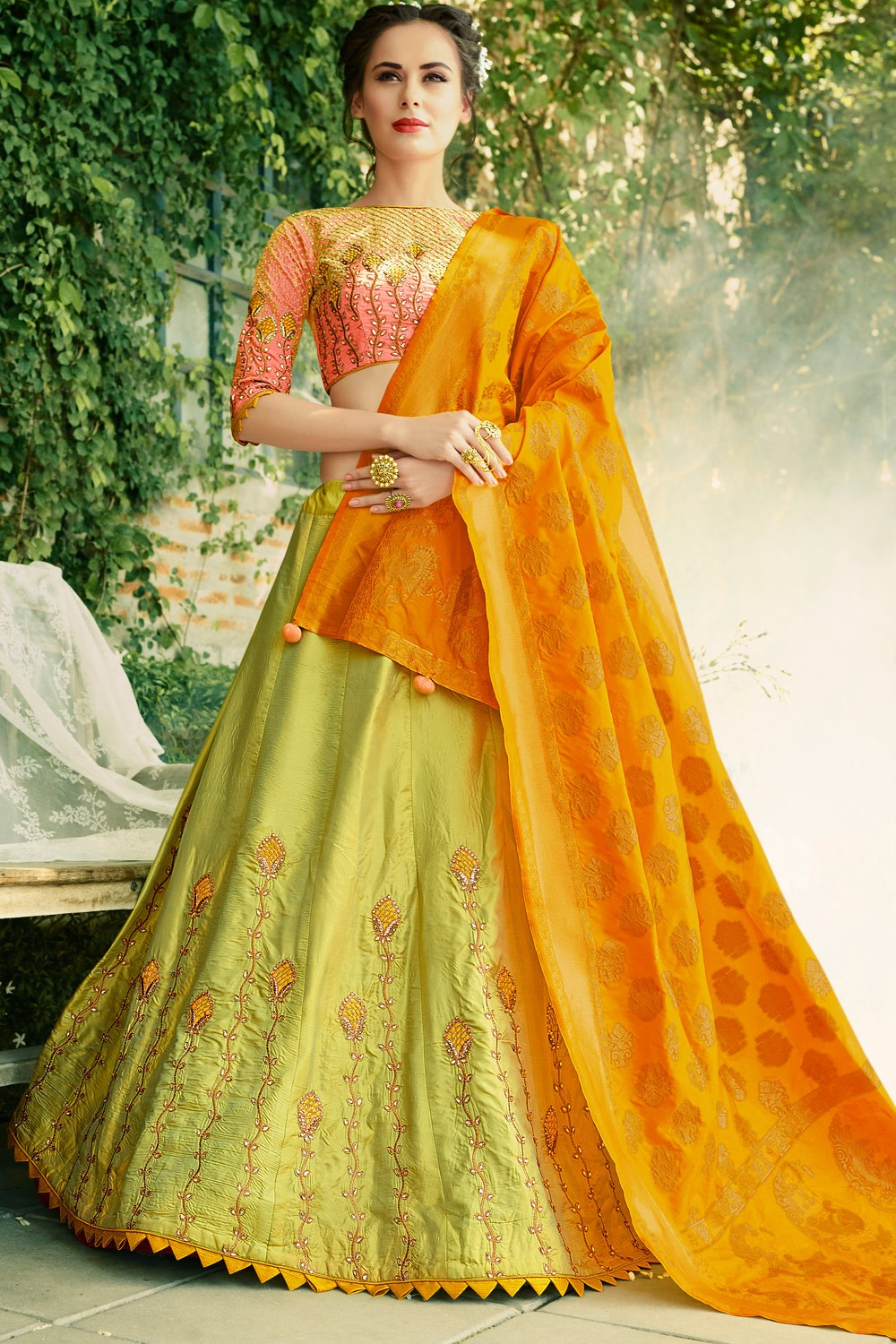 Paaneri Designer Light Green Color Partywear Wedding Raw Silk Girlish Unstich Lehenga With Banarasi Silk Pallu-Product Code-17119040802