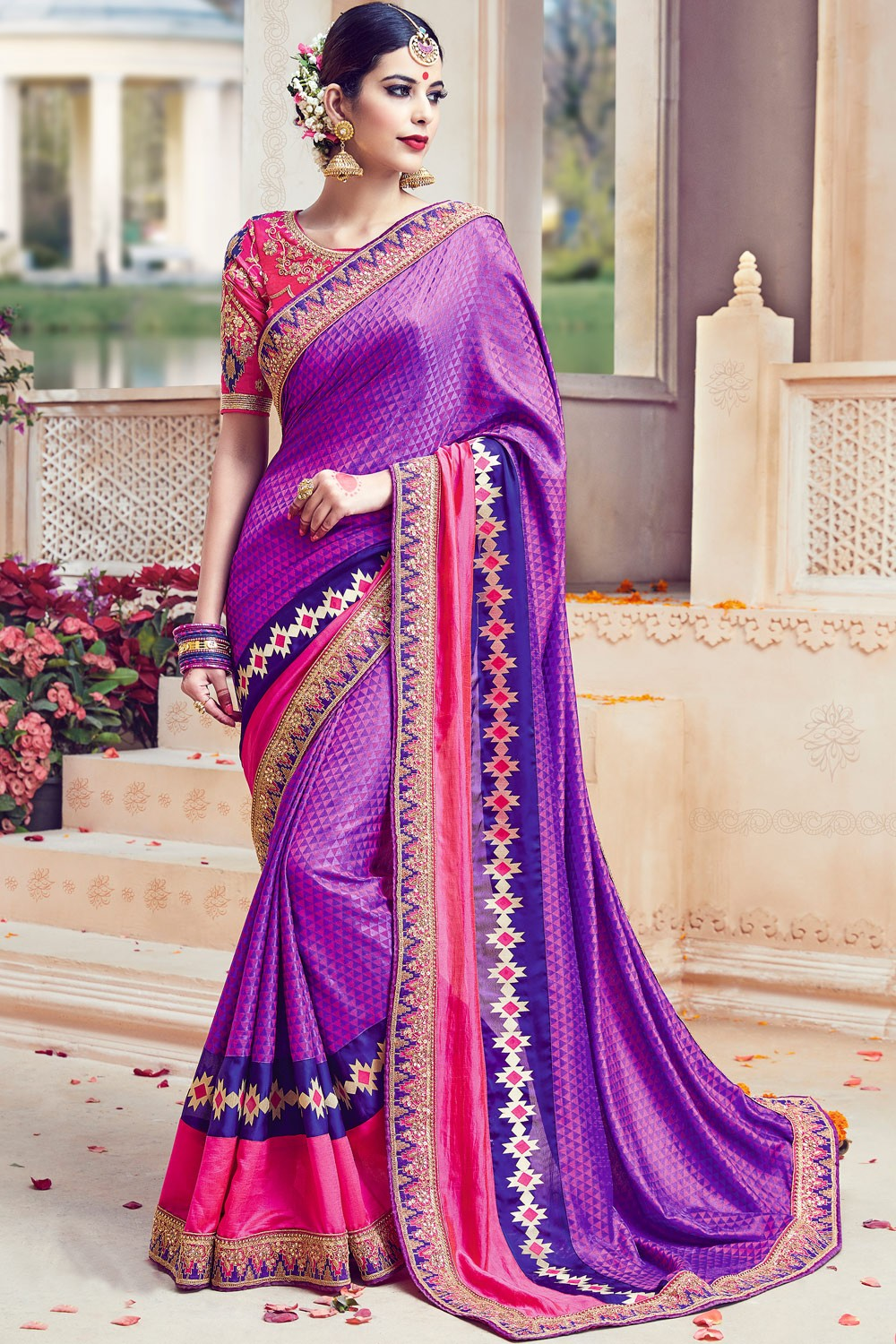 Paaneri Designer Purple Color Embroidery Border Art Silk Saree-Product Code-17119090806