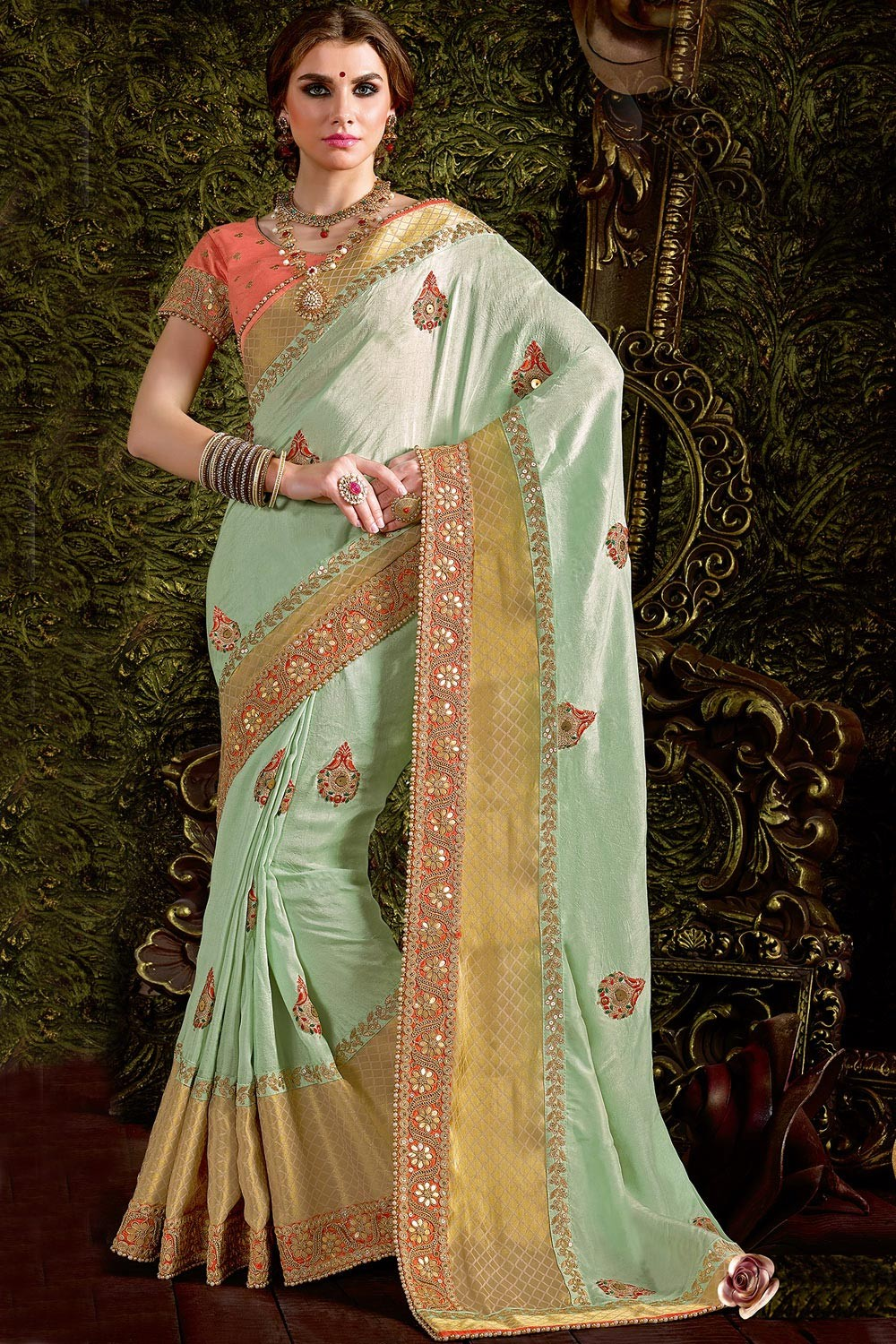 Paaneri Designer Mint Blue Color Embroidery Border Viscos Saree-Product Code-17119440204