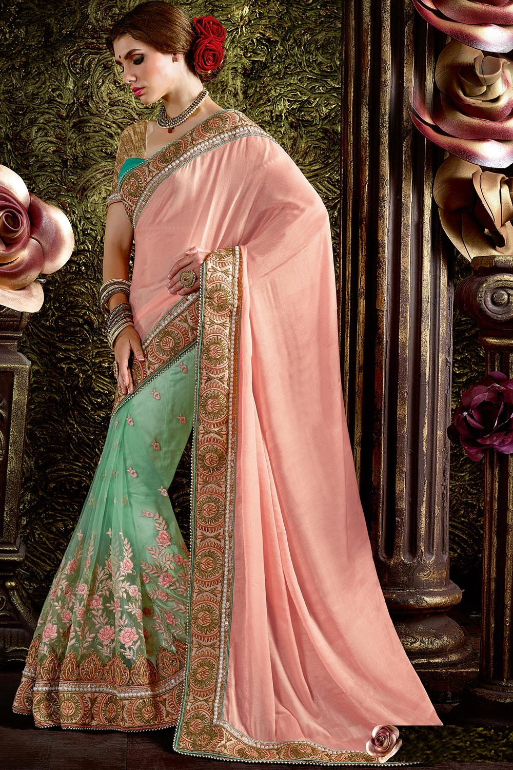 f63f78cbb08279 Paaneri Designer Half & Half Peach With Mint Blue Color Floral Thread  Embroidery Border Net & Art Silk Saree-Product Code-17119440504 - Wedding -  Sarees - ...