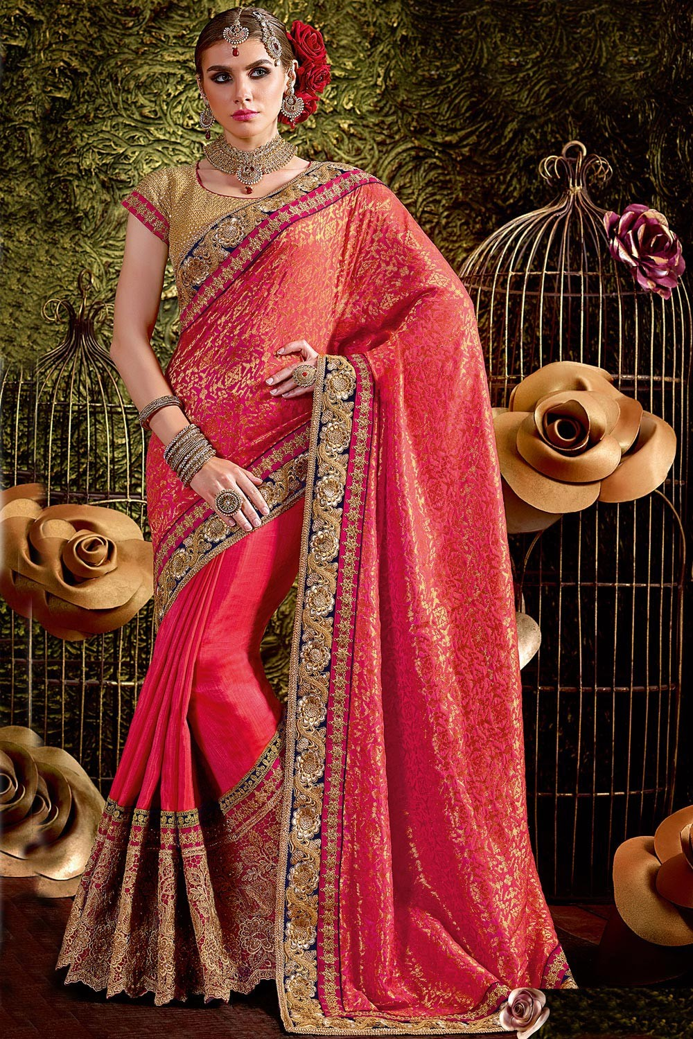 Paaneri Designer Red Color Floral Print Embroidery Border Bhagalpuri Silk & Art Silk Saree-Product Code-17119441104
