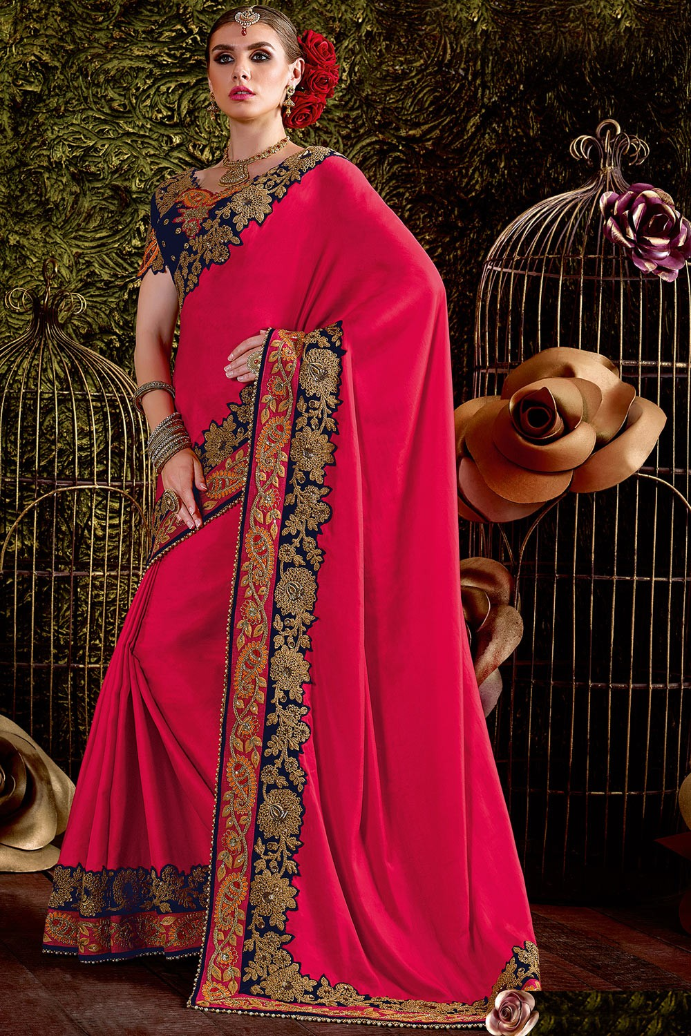 271bb79d7c7 Paaneri Designer Red Color Floral Embroidery Border Silk Georgette Saree-Product  Code-17119441304 - Party Wear - Sarees - Women s