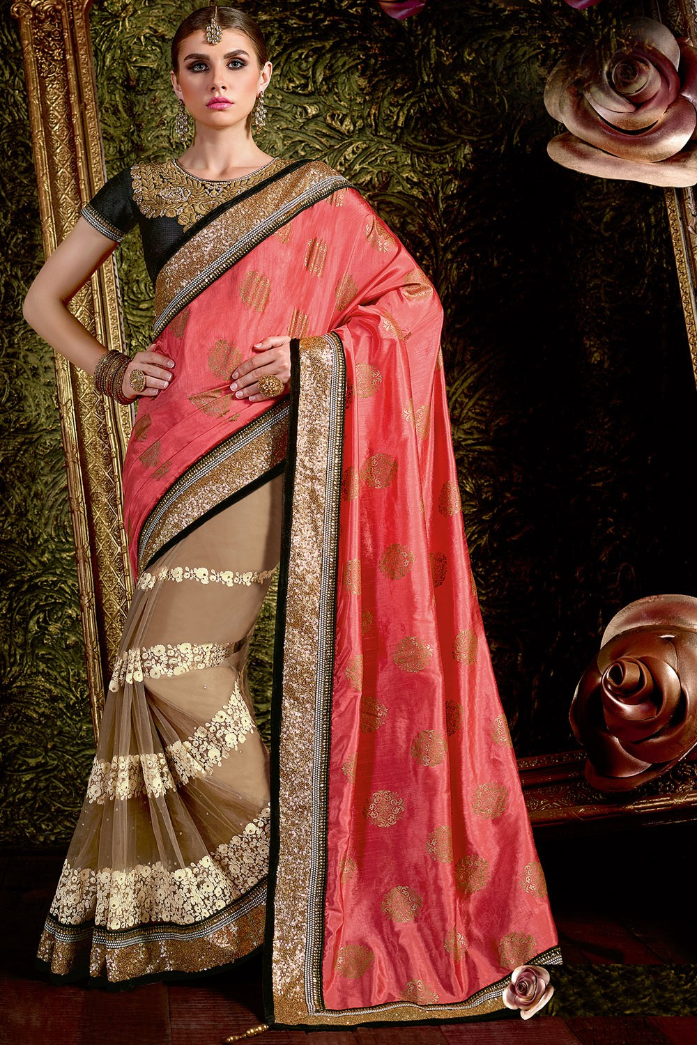 Paaneri Designer Shade Pink With Light Brown Color Foil Print Shimmer Border Net & Art Silk Saree-Product Code-17119441504