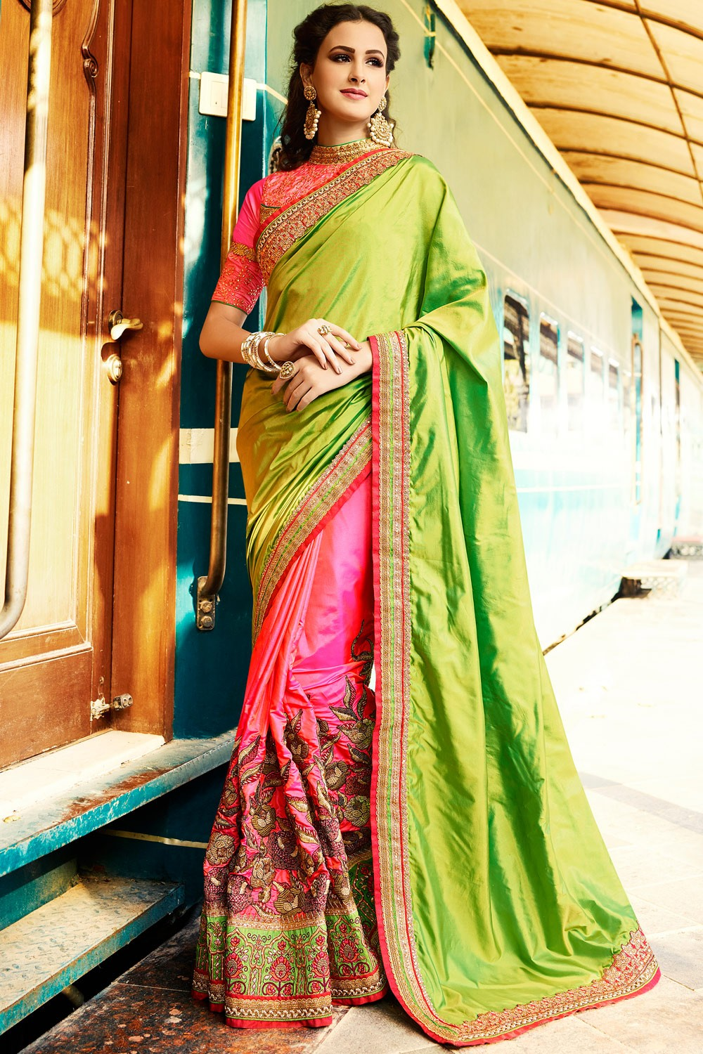 Paaneri Designer Shaded Parrot Green With Pink Color Embroidery Art Silk Saree With Embroidery Border Pallu-Product Code-17119700901