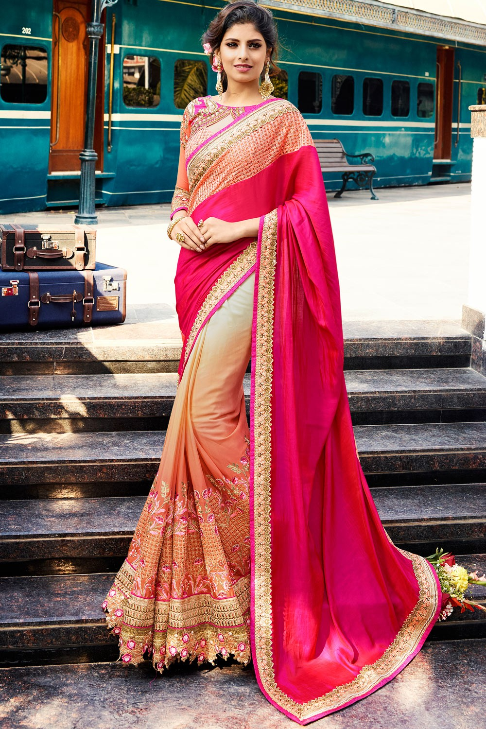 Paaneri Designer Shaded Rani With Peach Color Embroidery Art Silk & Chiffon Saree With Zari Border Pallu-Product Code-17119701001