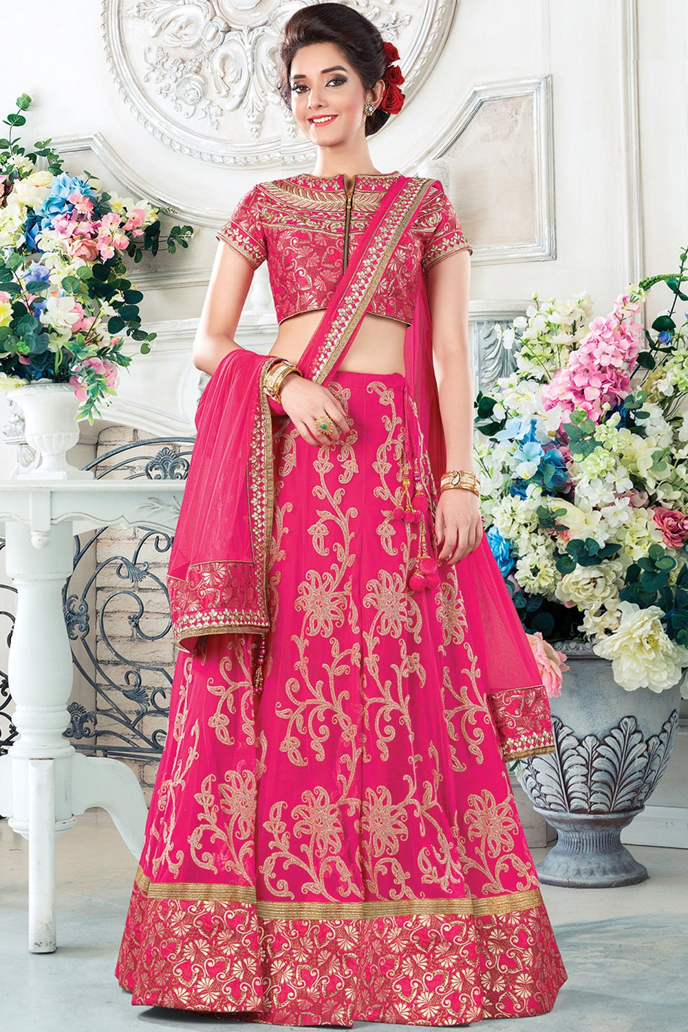 Paaneri Designer Pink Color Floral Thread Work Net Unstich Lehenga With Net Pallu-Product Code-17119710205