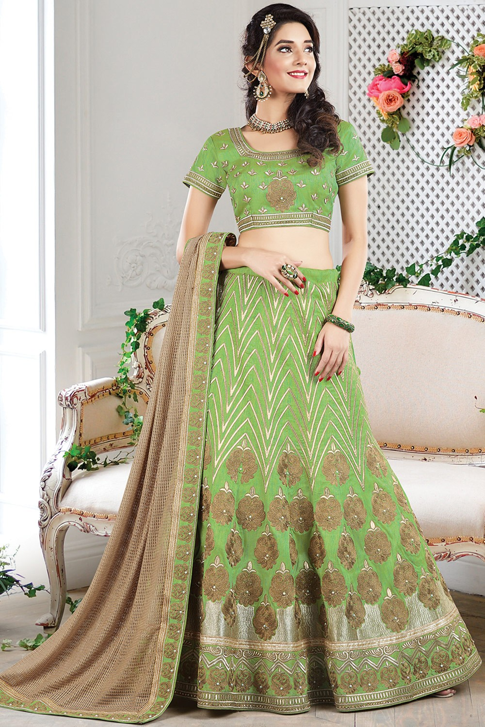Paaneri Designer Light Green With Brown Color Floral Print Raw Silk Unstich Lehenga With Fancy Net Pallu-Product Code-17119710505