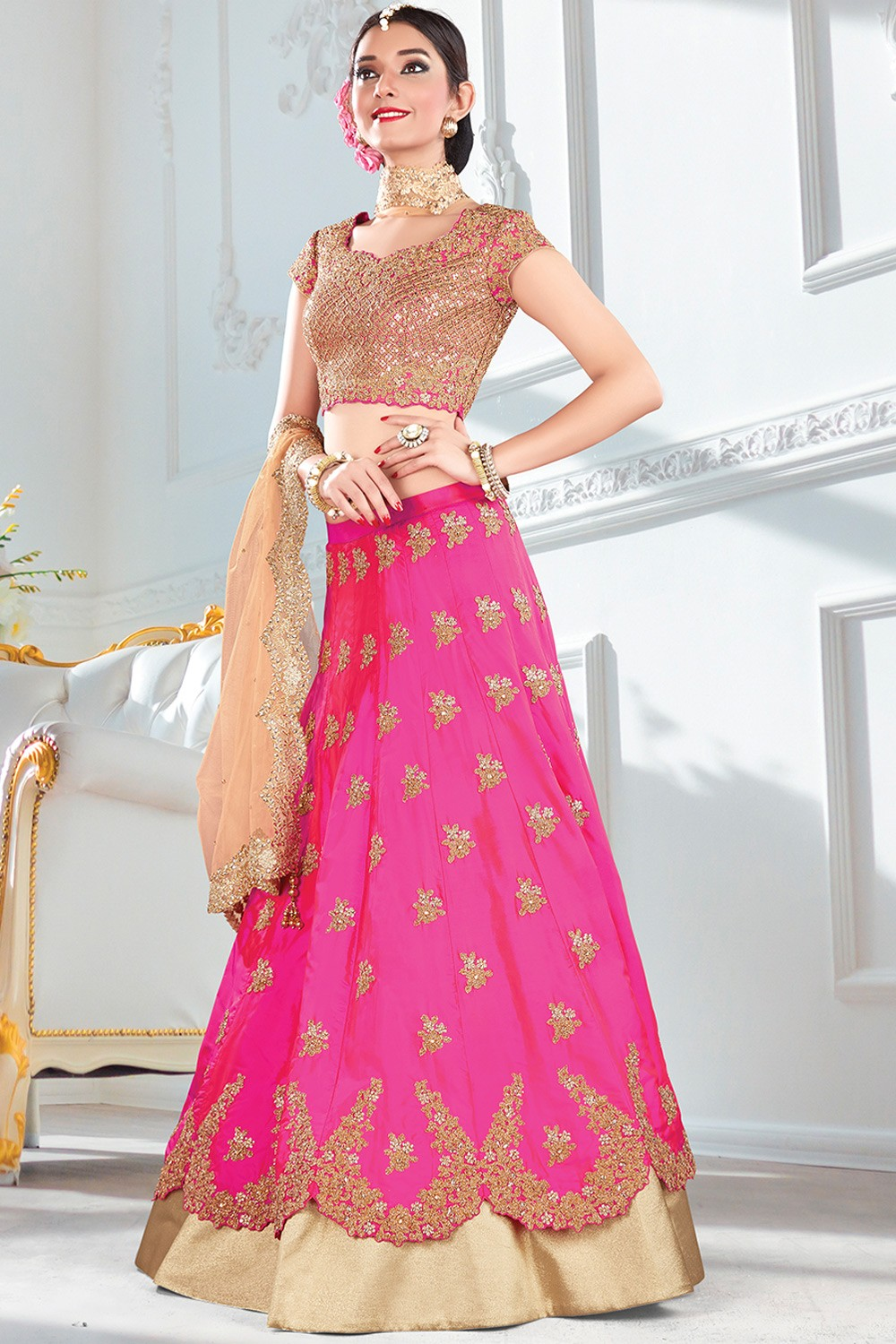 Paaneri Designer Pink With Light Brown Color Floral Thread Stone Work Silk Unstich Lehenga With Net Pallu-Product Code-17119711205