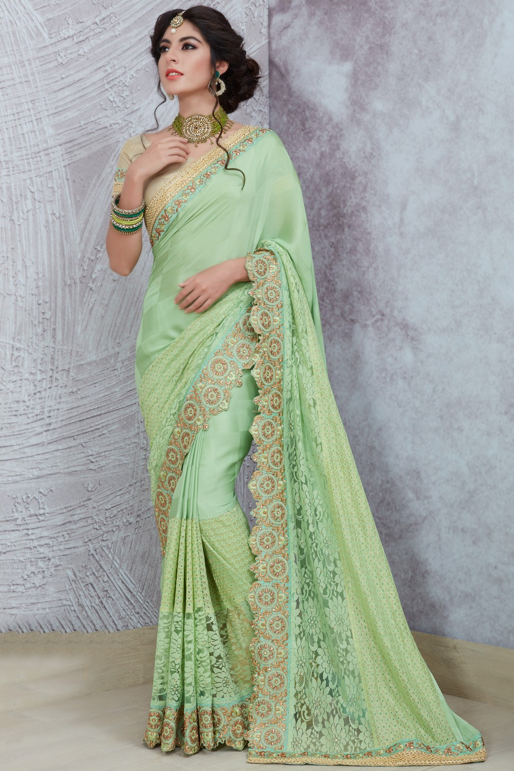 09b614f724 Paaneri Designer Half & Half Dark Sea Green Color Thread Work Border  Georgette Printed Saree-Product Code-17119885510 - Party Wear - Sarees -  Women's