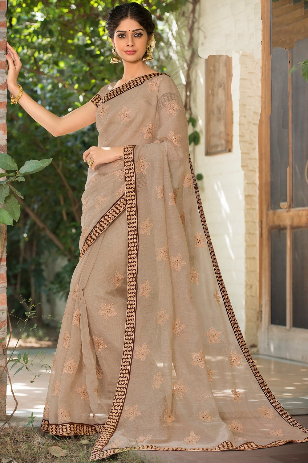 Paaneri Designer Super Net Tan Color With Floral Print Embroidery Border -Product Code-17120007916