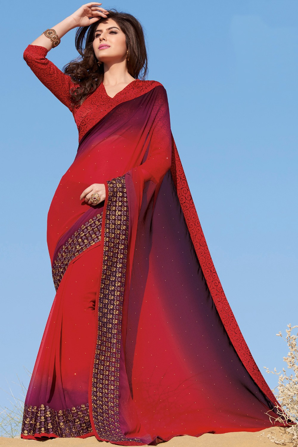 Paaneri Designer Red With Wine Color Stone Embroidery Fancy Border Georgette Printed Saree -Product Code-17120459221