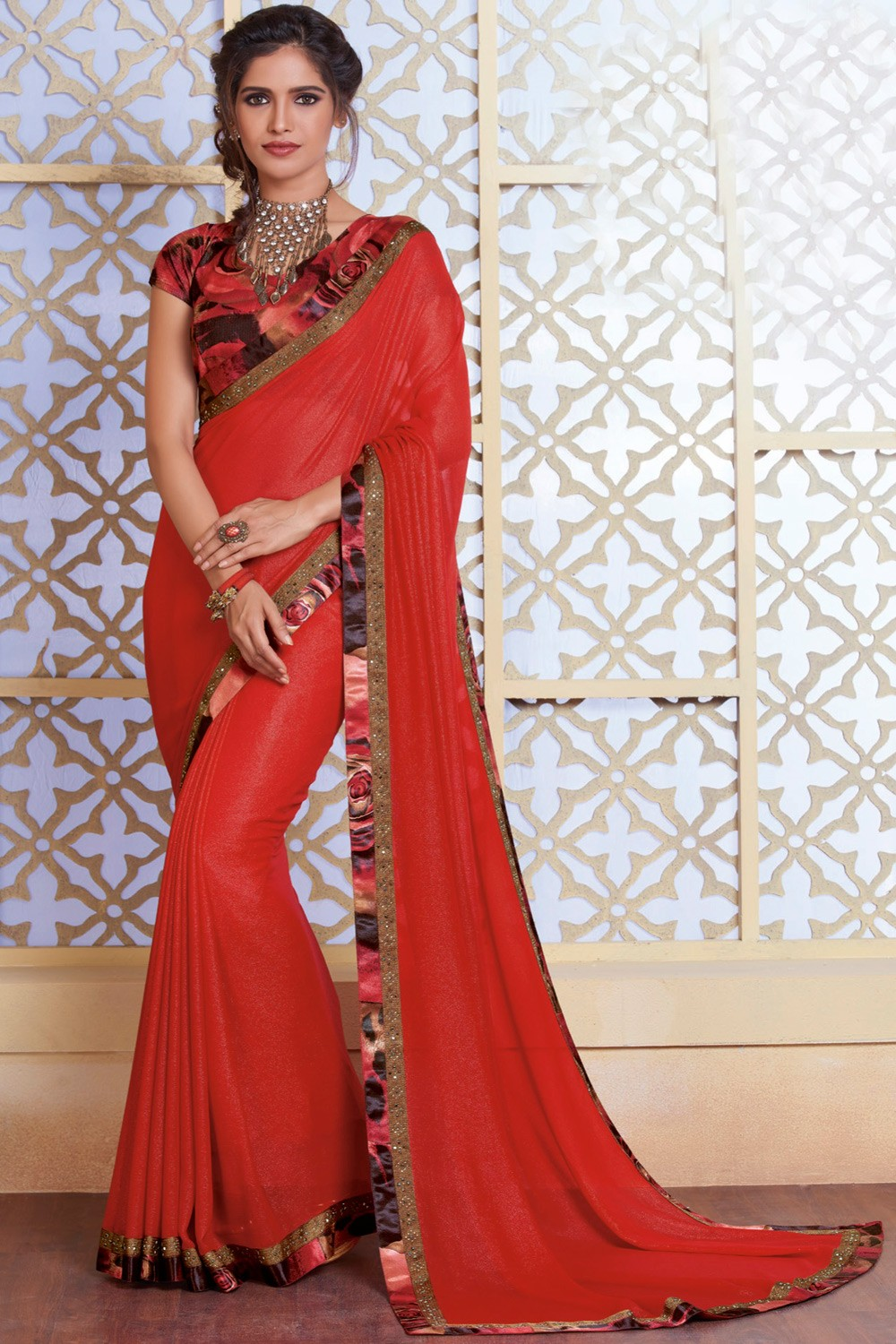 cb4a15d5c1 Paaneri Designer Red Color Stone Work Border Georgette Printed Saree-Product  Code-17120482534 - Women's