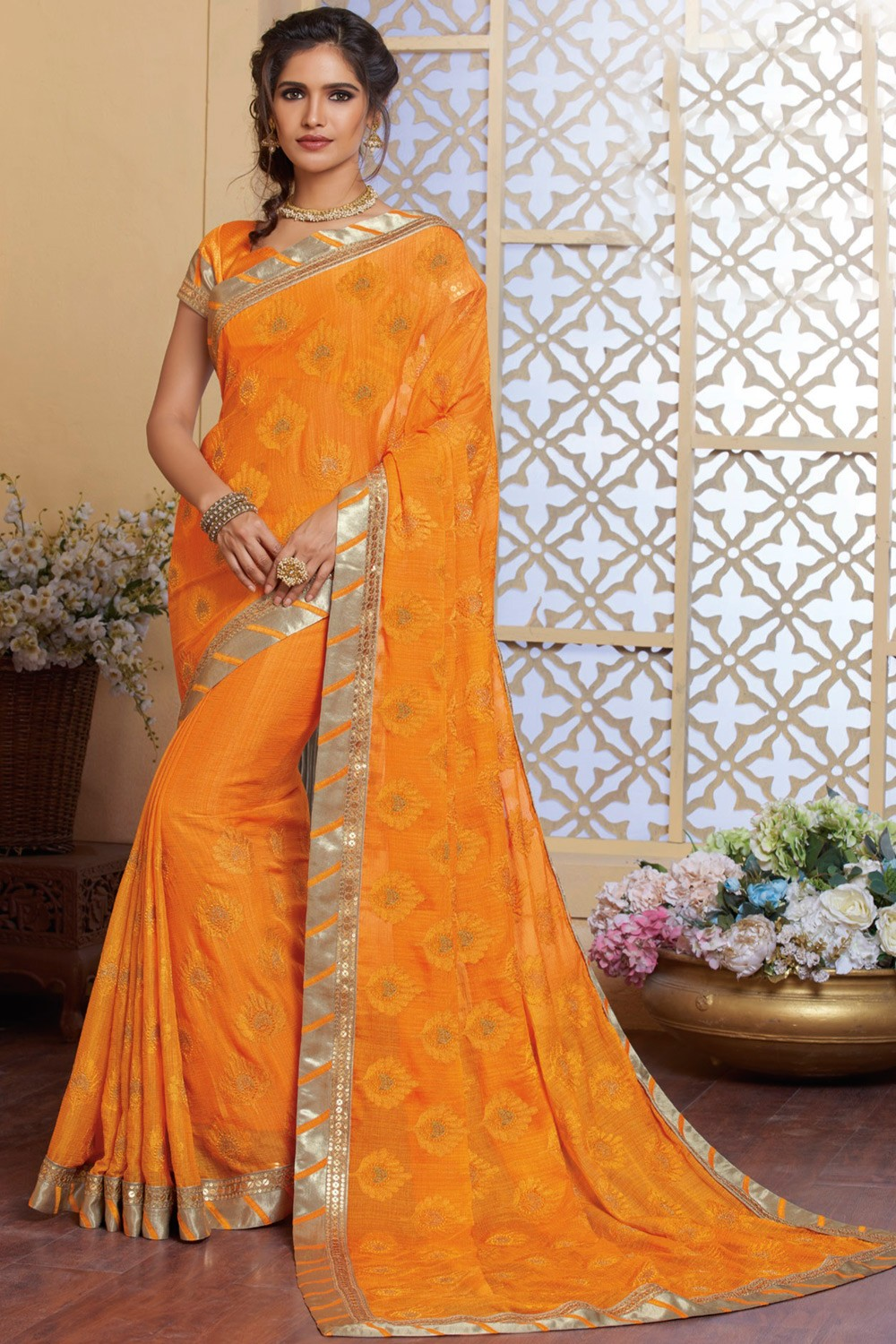 5e75f20252 Paaneri Designer Orange Color Stone Work Embroidery Work Floral Print Silk  Georgette Saree-Product Code-17120483834 - Party Wear - Sarees - Women's