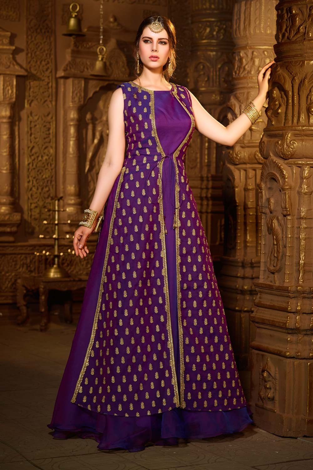 Paaneri Desinger Puple Color Heavy Embroidey Zari Work With Silk Long Gown -SKU Code-18122187902
