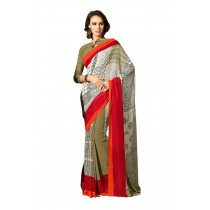 Paaneri Multi Color Red Border Georgette Saree-Product Code-160120303504