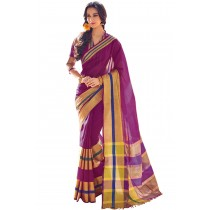Designer Ruby Colour With Golden Borad Border Plain Blended Cotton Saree-Product Code-16110020105