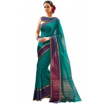 Designer Sea Green Colour With  Fuchia Borad Border Plain Blended Cotton Saree-Product Code-16110020205