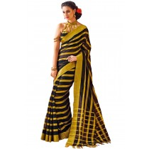 Designer Black Colour with Golden Strips Blended Cotton Saree-Product Code-16110020405