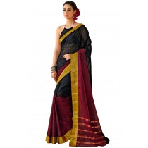 Designer Maroon Color with Black Half and Half Blended Cotton Saree-Product Code-16110020505