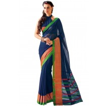 Designer Navy Colour With Golden Borad Border Plain Blended Cotton Saree-Product Code-16110020705
