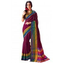Designer Maroon Colour With Multi Border Plain Blended Cotton Saree-Product Code-16110020805