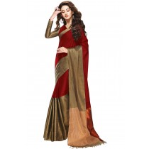 Designer Maroon Colour with Golden Half and Half Blended Cotton Saree-Product Code-16110021205