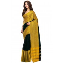Designer Black Colour With Golden Borad Border Plain Blended Cotton Saree-Product Code-16110021305