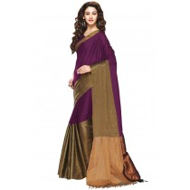 Designer Dark Magenta Colour with Brown Half and Half Blended Cotton Saree-Product Code-16110021405