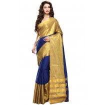 Designer Royal Blue Colour with Golden Half and Half Blended Cotton Saree-Product Code-16110021505