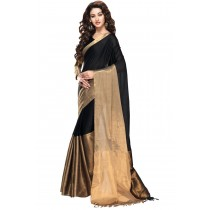 Designer Black Colour with Copper Half and Half Blended Cotton Plain Saree-Product Code-16110021705