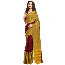 Designer Maroon Colour with Golden Half and Half Blended Cotton Plain Saree-Product Code-16110021805