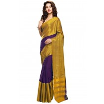 Designer Purple Colour with Golden Half and Half Blended Cotton Plain Saree-Product Code-16110021905