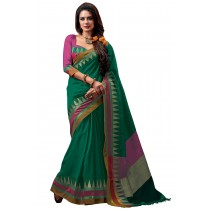 Paaneri Designer Green Color Cotton Saree With Multi Border Pallu -16110022106