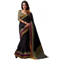 Paaneri Black Color Cotton Saree Multi Border Pallu-16110022206