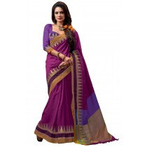 Paaneri Fancy Purple Color Cotton Saree With Multi Border Pallu-16110022506