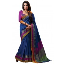 Paaneri Navy Color Cotton Saree With Multi Border Pallu-16110022606