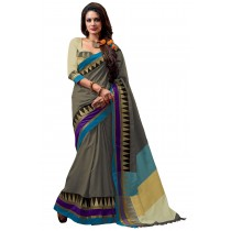 Paaneri Designer Grey Color Cotton Saree With Multi Border Pallu-16110022706