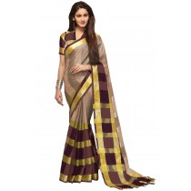 Paaneri Tan Color Checks Cotton Printed Saree -Product Code-16110023307