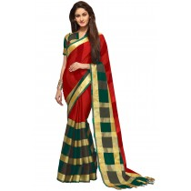 Paaneri Red Color Checks Cotton Printed Saree-Product Code-16110023407