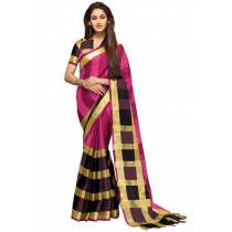 Paaneri Deep Pink Color Checks Cotton Printed Saree -Product Code-16110023507