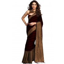 Paaneri Maroon With Chiku Color Cotton Printed Saree-Product Code-16110023707