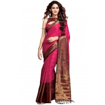 Paaneri Deep Pink Color Cotton Printed Saree With Stripe Pallu-Product Code-16110023907